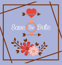 Save the date flower ring arrow romantic card vector