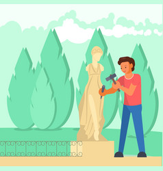 sculptor carving woman sculpture flat vector image