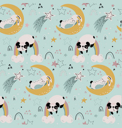 Seamless pattern with cute animals fliyng vector