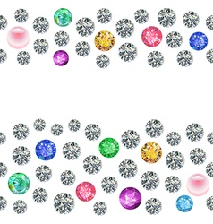Seamless scattered borders of gems rhinestones vector