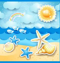 Seascape with sun and seashells vector