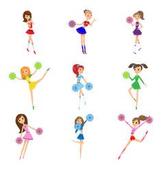 Set girls cheerleaders with pompons vector