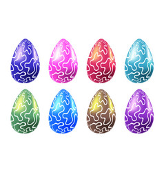 set of colorful easter realistic eggs vector image