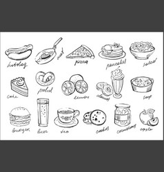 Set of food and drinks icons in sketch vector
