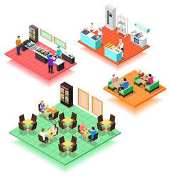 set of isometric interiors of fast food restaurant vector image
