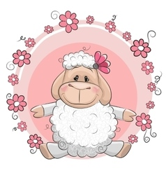 Sheep with flowers vector