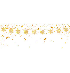 Shining gold snowflakes on white background vector