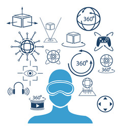 Silhouette head human virtual reality goggle 3d vector