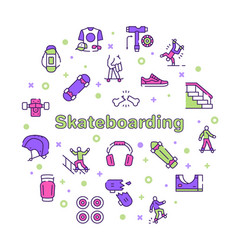 skateboarding symbols color linear icon set vector image