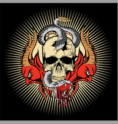 skull and snake white 2 demonhand drawing vector image