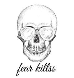 Skull of human with eyeglasses vector
