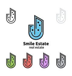 Smile home represented real estate logo vector