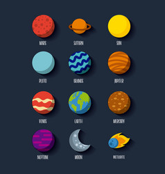 Solar system icons set flat vector