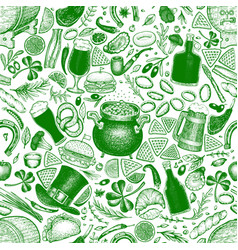 st patricks day seamless pattern hand vector image