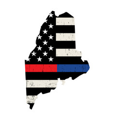 state maine police and firefighter support flag vector image