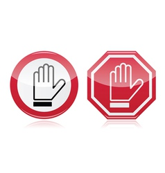 Stop warning road sign with hand vector image