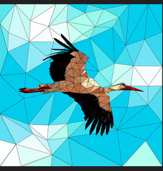 stork in the blue sky colored mosaic with contour vector image
