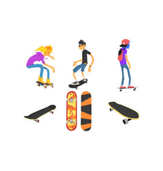 teens skateboarders and skateboards set active vector image