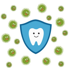 Tooth character in protective shield germs vector