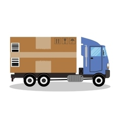truck van and gift box pack vector image