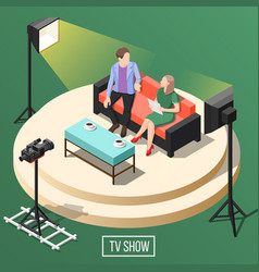 Tv show isometric background vector