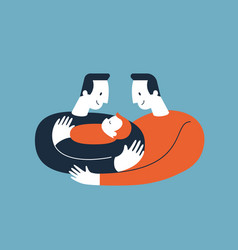 Two men hugging and cuddling baby boy or girl vector