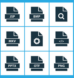 types icons set with directory software search vector image