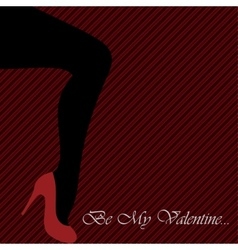 Valentines card with womens leg vector