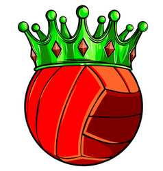volleyball ball in golden royal crown concept of vector image