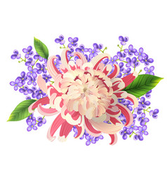 Watercolor painting spring bouquet realistic vector