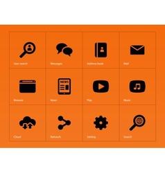 Web icons on orange background vector image