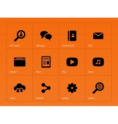 Web icons on orange background vector