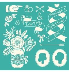 Wedding set vintage design elements vector