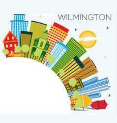 wilmington delaware city skyline with color vector image