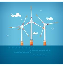 Wind Turbines in the Sea vector