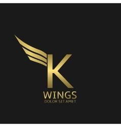 Wings K letter logo vector
