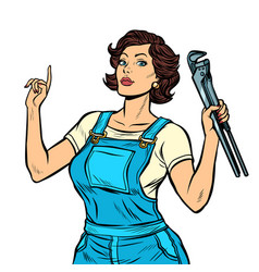 woman mechanic with a wrench isolate on white vector image
