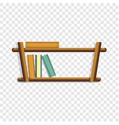 Wood book shelf icon cartoon style vector