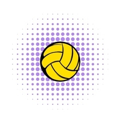 Yellow volleyball ball icon comics style vector image