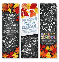 back to school autumn education banners vector image