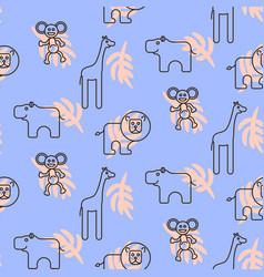 safari zoo animals kid seamless pattern vector image vector image
