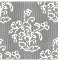 White seamless lace pattern on a gray background vector image