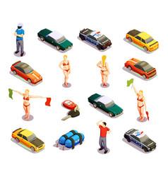 automobile racing icon set vector image vector image