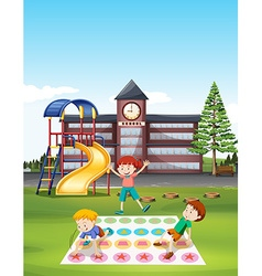 Children playing twister at school lawn vector