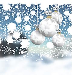 Christmas baubles on a defocussed winter landscape vector image vector image