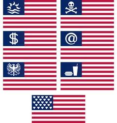 set of fantasy american flags vector image vector image