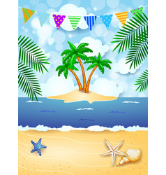 summer background with festoon and tropical island vector image