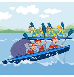 cartoon rowing competitions vector image vector image