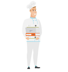 chef cook holding pile of folders vector image vector image