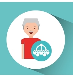man elderly travel concept and taxi design graphic vector image vector image